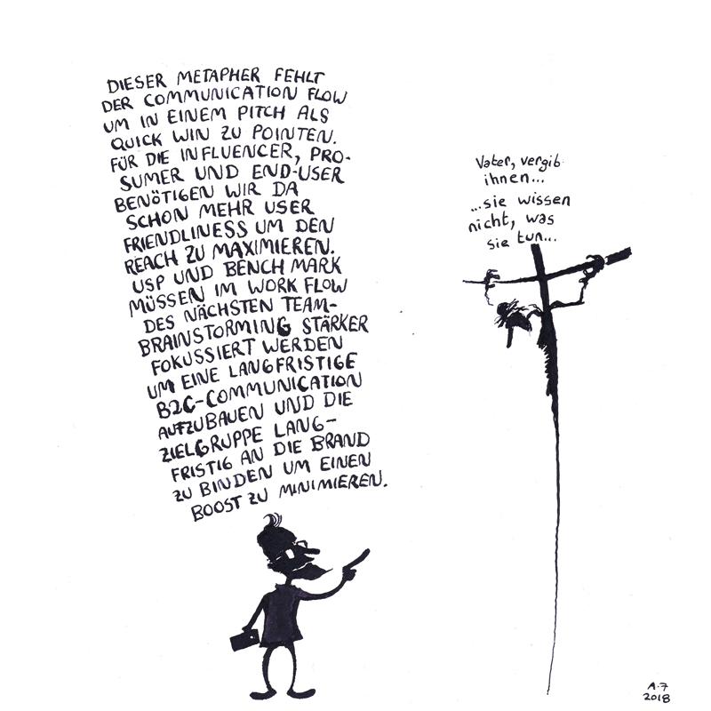 Comic: Jesus am Kreuz mit modernen Marketingberater vor ihm