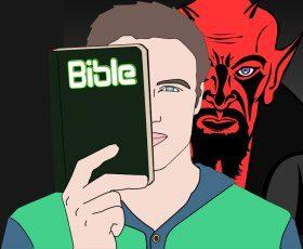Christ mit Teufel im Nacken