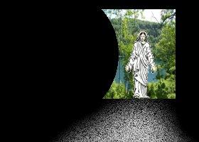 Jesus am offenen Grab