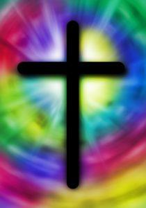 Kreuz auf Regenbogenfarben